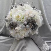 свадебный букет серебро
